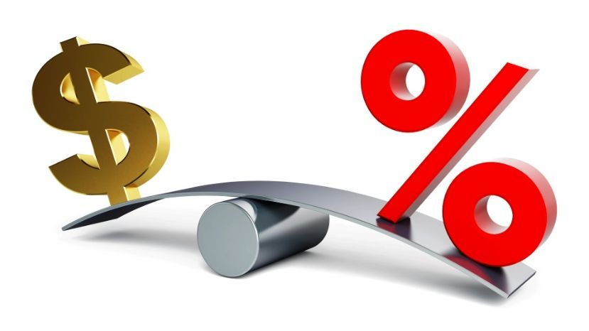 representación de tasa de interés baja